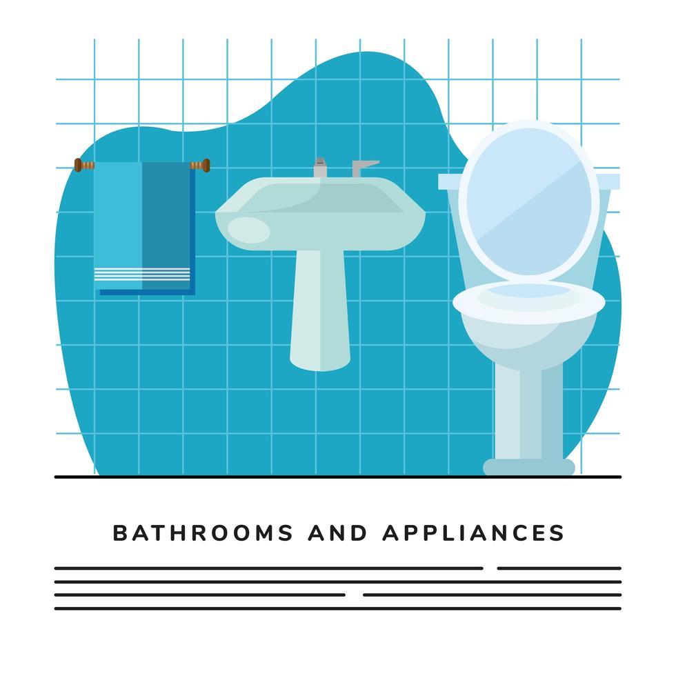 Badezimmer Toilette und Waschbecken Szene Banner Vorlage vektor