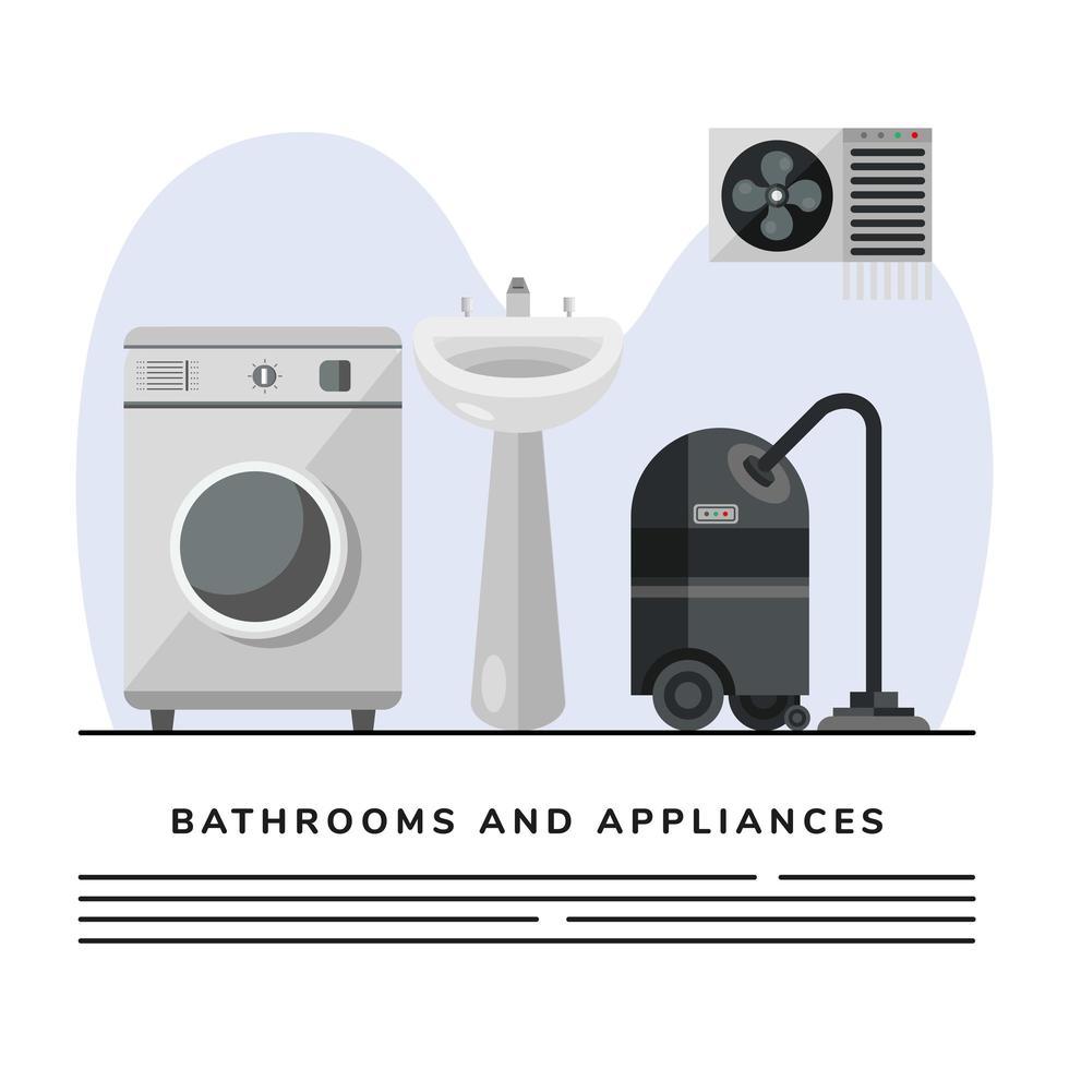 Staubsauger und Waschmaschine mit Waschbecken Bad Banner Vorlage vektor