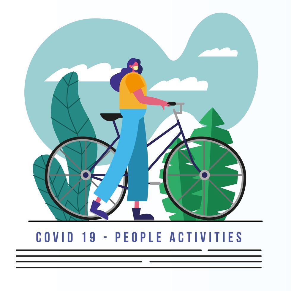 Frau, die medizinische Maske trägt, die Fahrradfahnenschablone reitet vektor