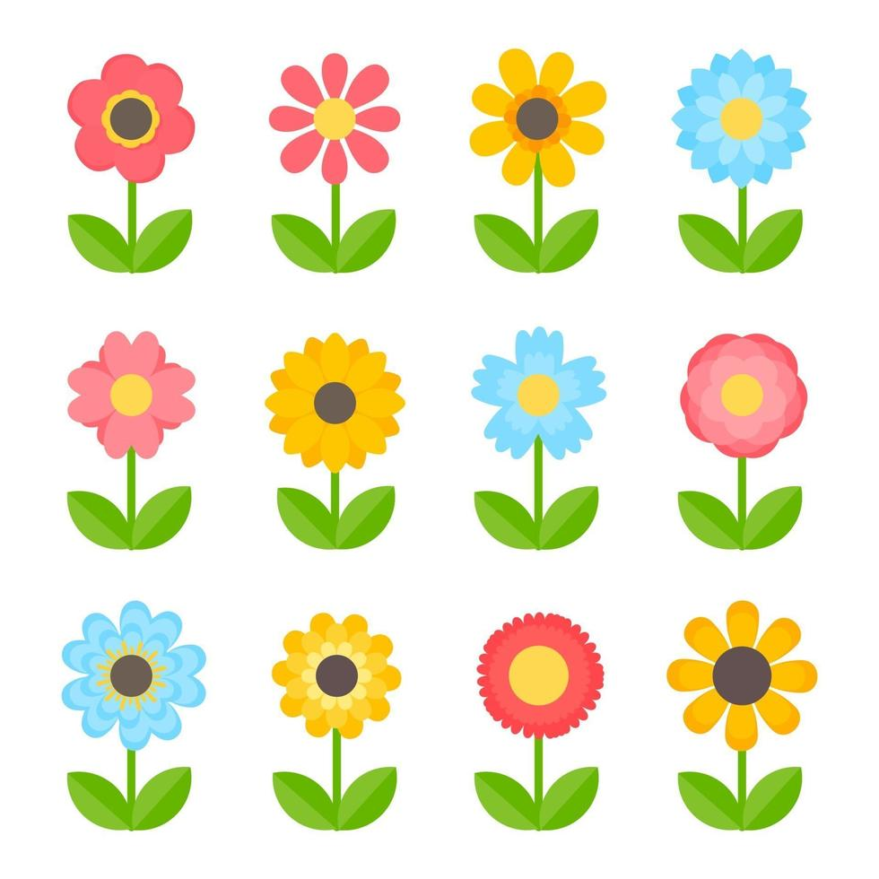 einfacher bunter Blumenentwurf für Kinder lokalisiert auf weißem Hintergrund vektor