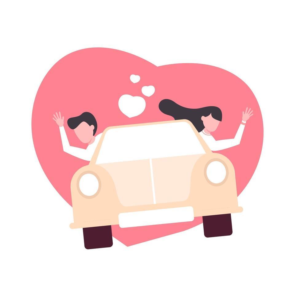 älskande par som rider på bil. kärlek koncept. tecknad stil. vektor