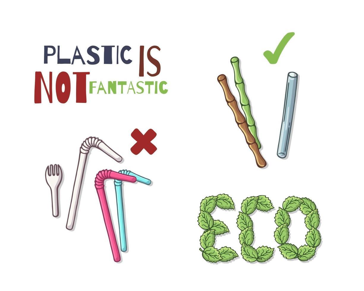 återanvändbara föremål istället för plast vektor