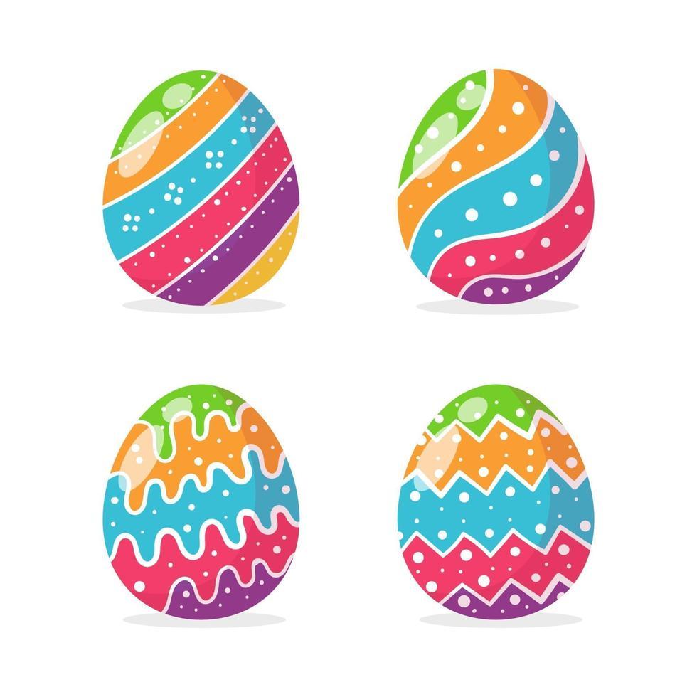 ägg målade i olika färgglada mönster för att dekorera korten som ges till barnen påsk. vektor