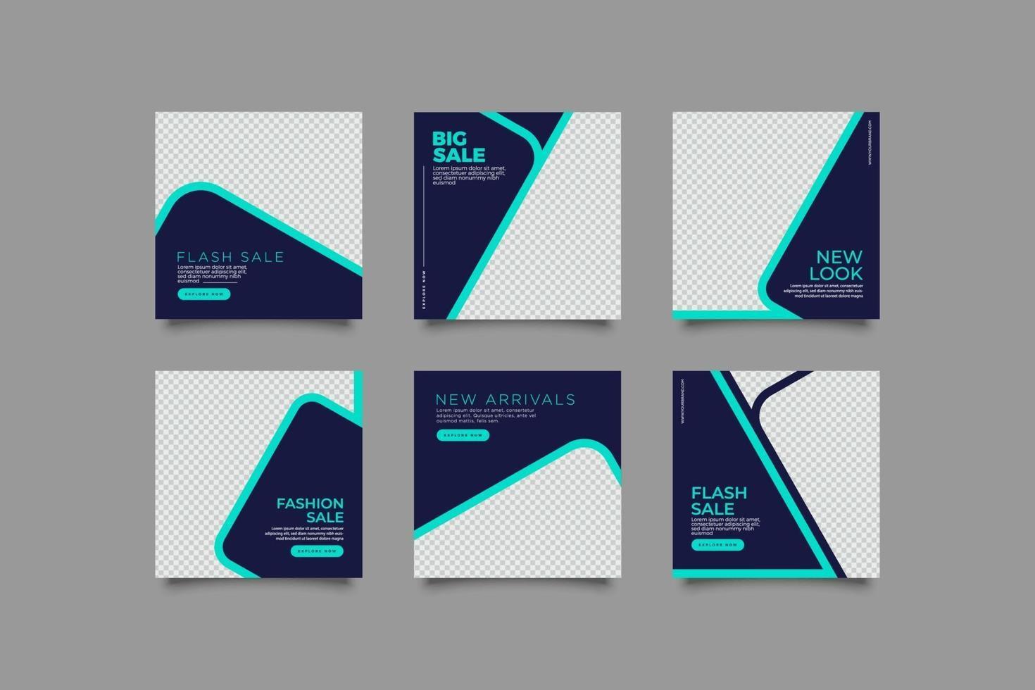 elegant blå företags sociala medier mall bunt vektor