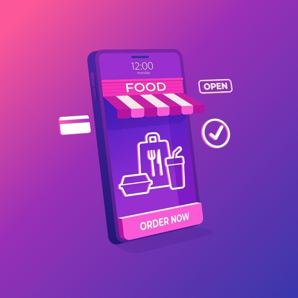 online livsmedelsbutik leverans på mobil applikationskoncept. Online-butik 3d på mobiltelefonen. vektor