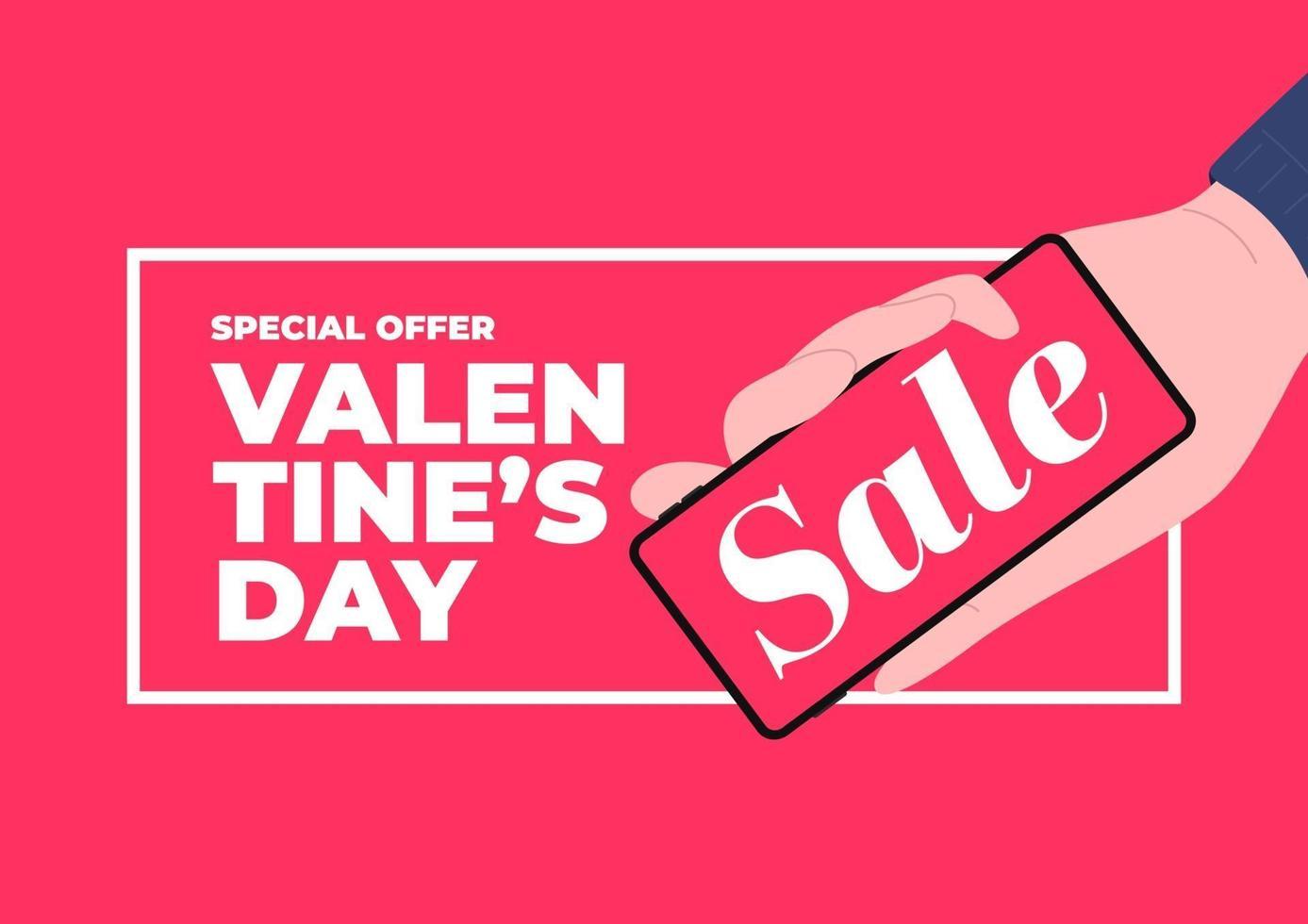 Hand hält Telefon mit Verkaufsförderung. Valentinstag Verkauf Banner Vorlage. vektor