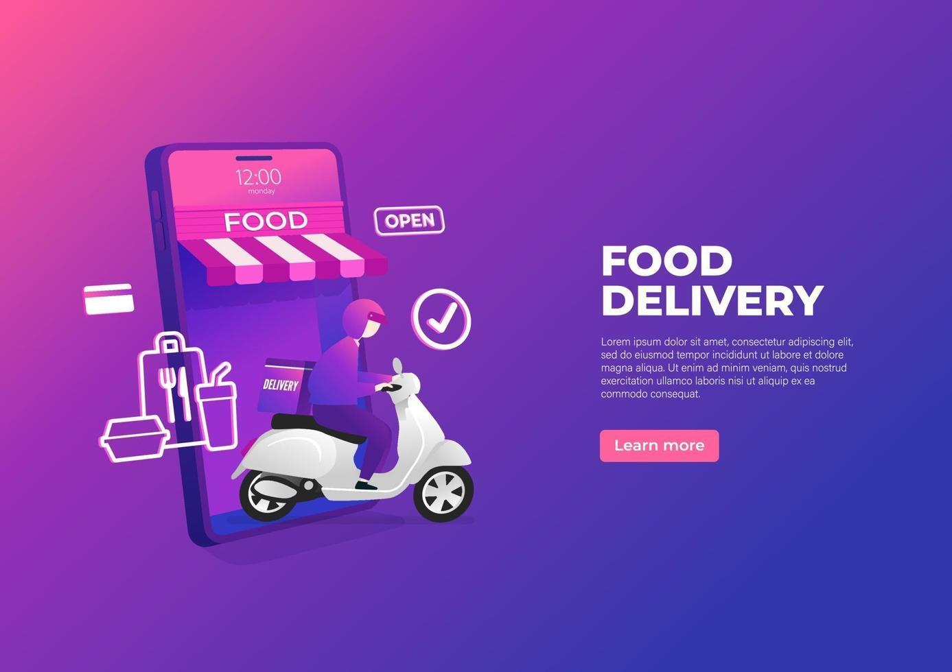 Lebensmittel-Lieferservice per Roller auf Handy-Banner. online Essen auf einem Smartphone bestellen. vektor