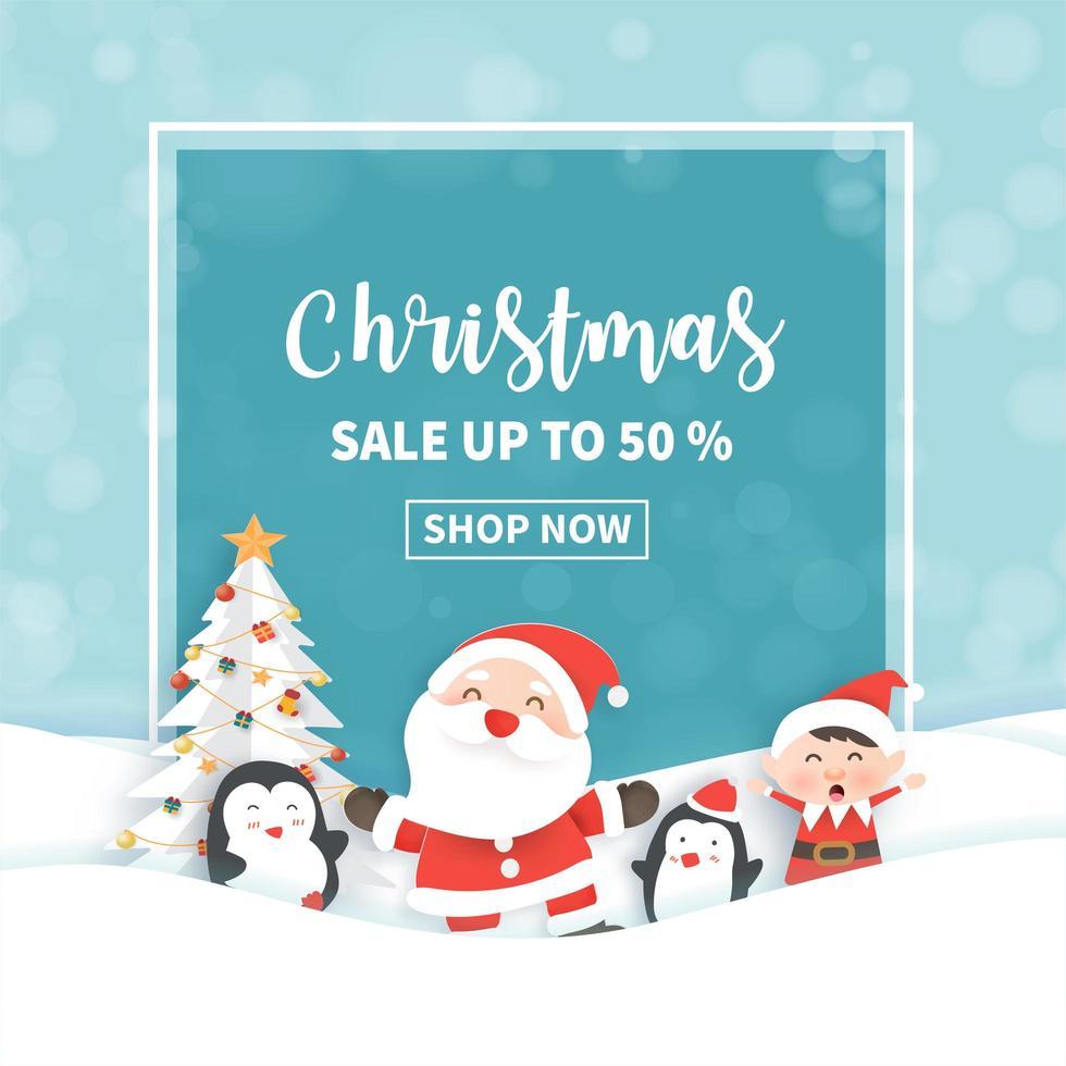 Weihnachtsverkauf Banner mit Santa Klausel und Freunden. vektor