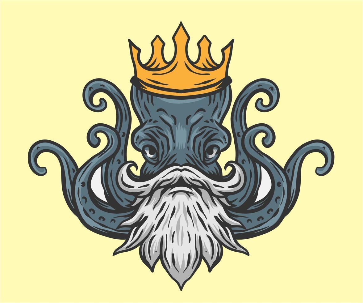 bläckfisk kung illustration vektor