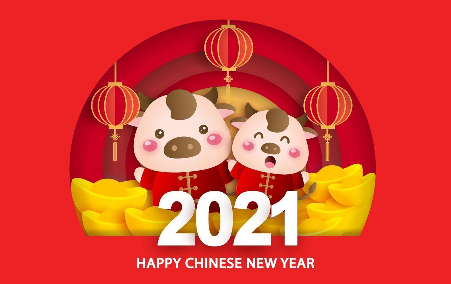 kinesiskt nyår 2021 år av oxens gratulationskort med en söt oxe vektor