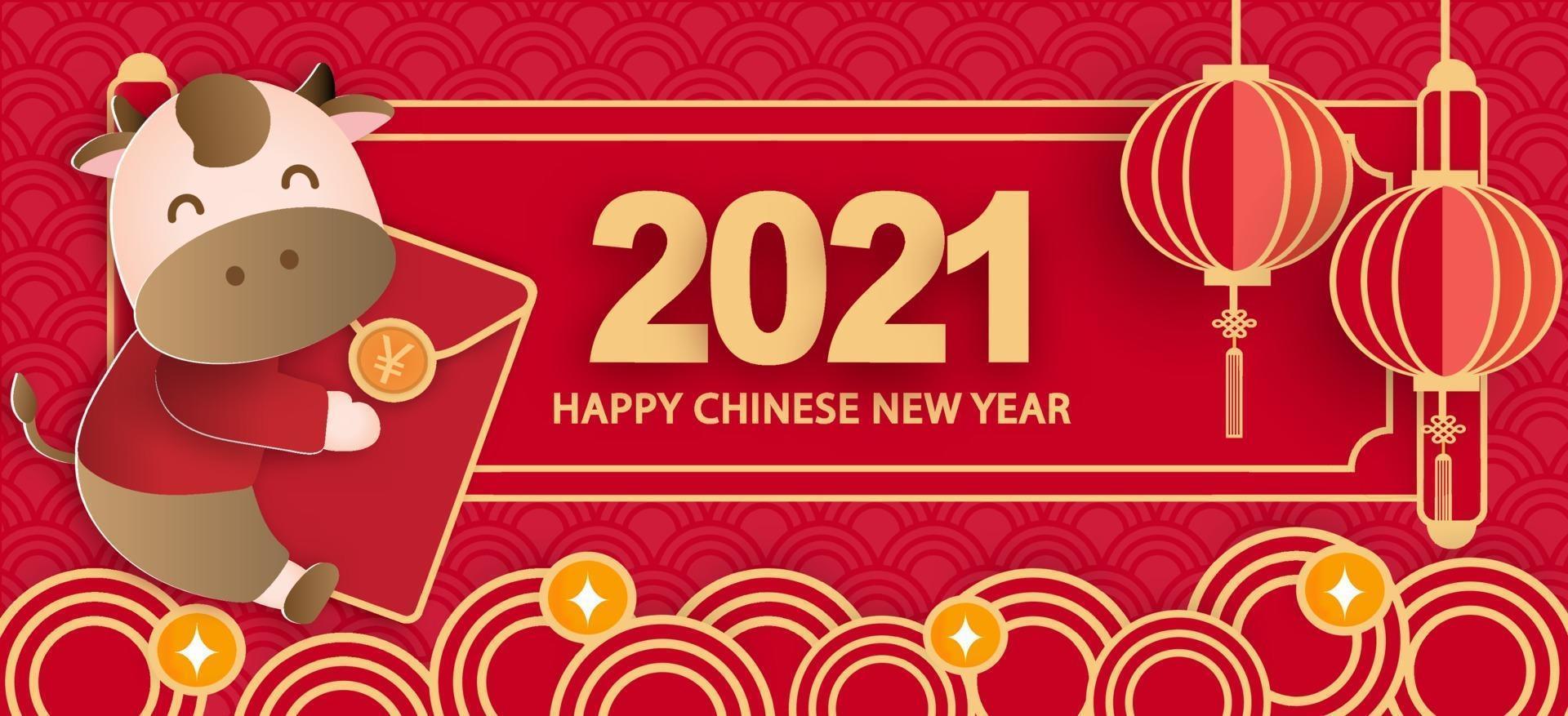 kinesiskt nyår 2021 år av oxbannern vektor