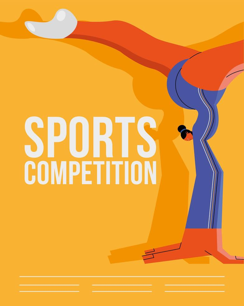 idrottsman öva gymnastik sport affisch mall vektor
