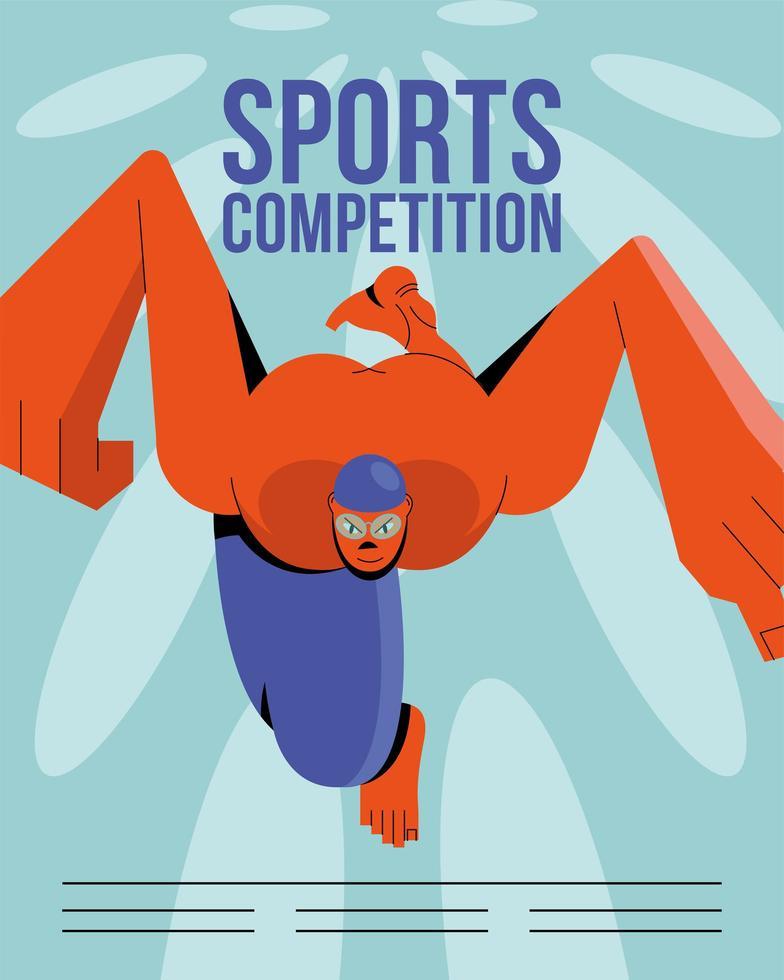 Sportler schwimmen Poster Vorlage vektor