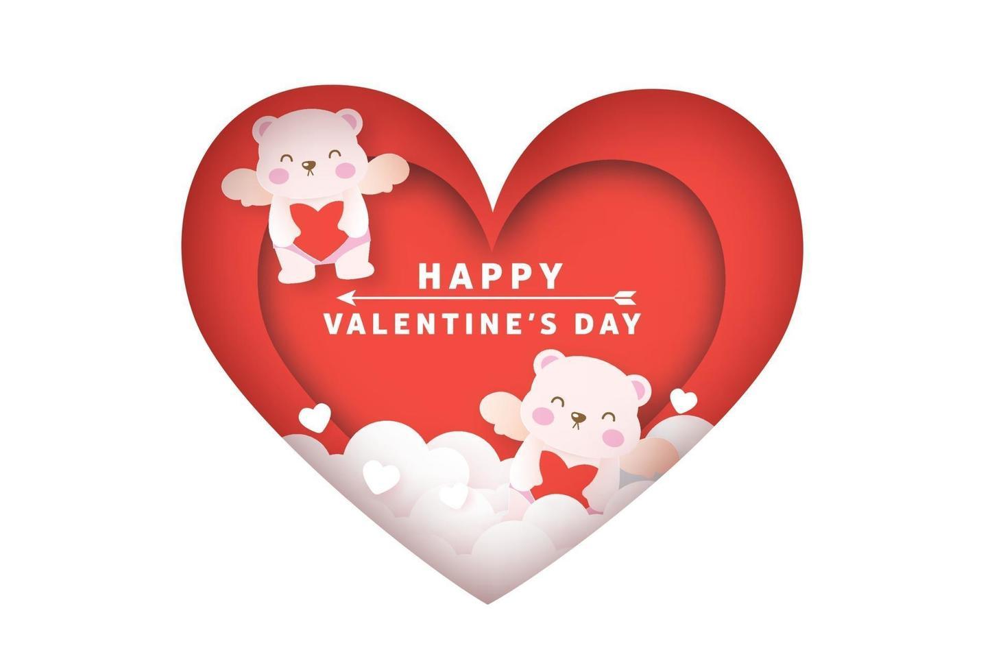 Alla hjärtans gratulationskort med en söt amorbjörnar. vektor