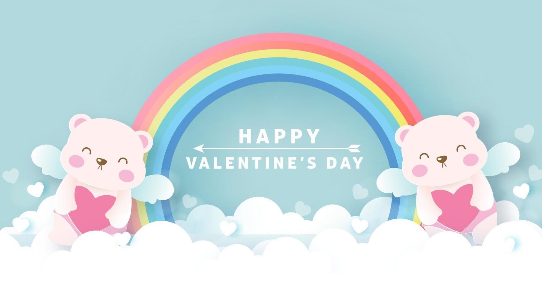 Alla hjärtans gratulationskort med söta amorbjörnar och regnbåge. vektor