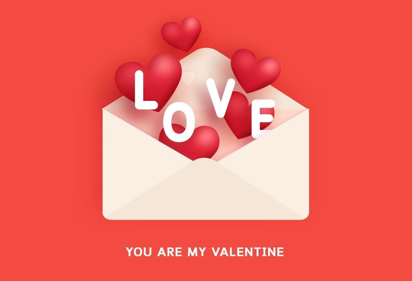 Alla hjärtans gratulationskort med ett brev och kärleksord. vektor