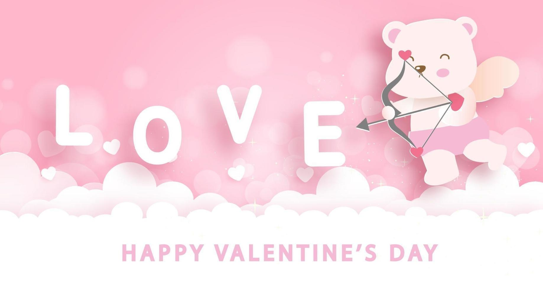 Alla hjärtans gratulationskort med söt amor. vektor