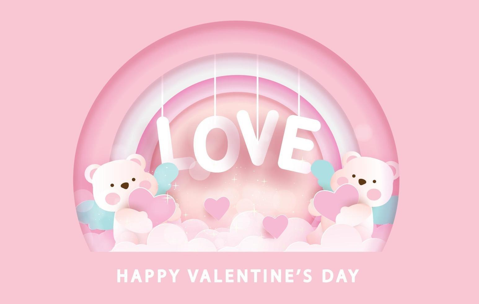 Alla hjärtans gratulationskort med söta amorbjörnar och kärlekstext vektor