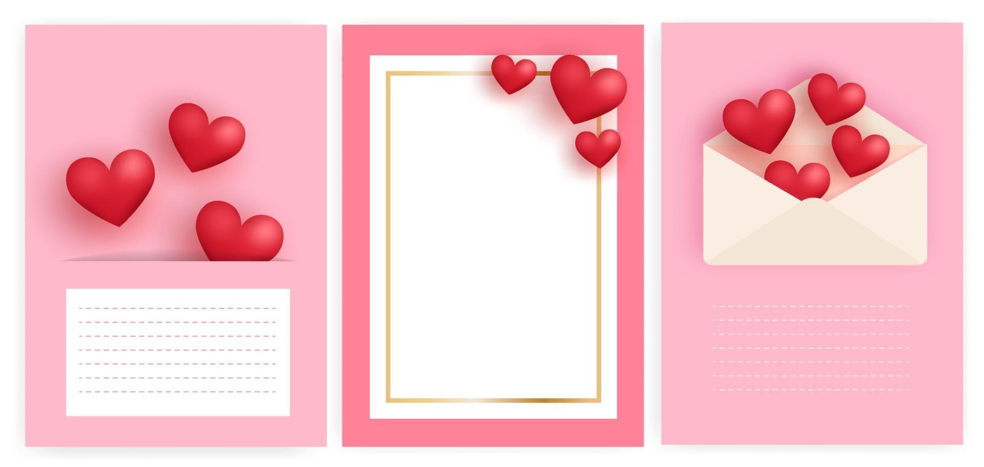 uppsättning alla hjärtans dag gratulationskort med hjärtan och bokstaven. vektor