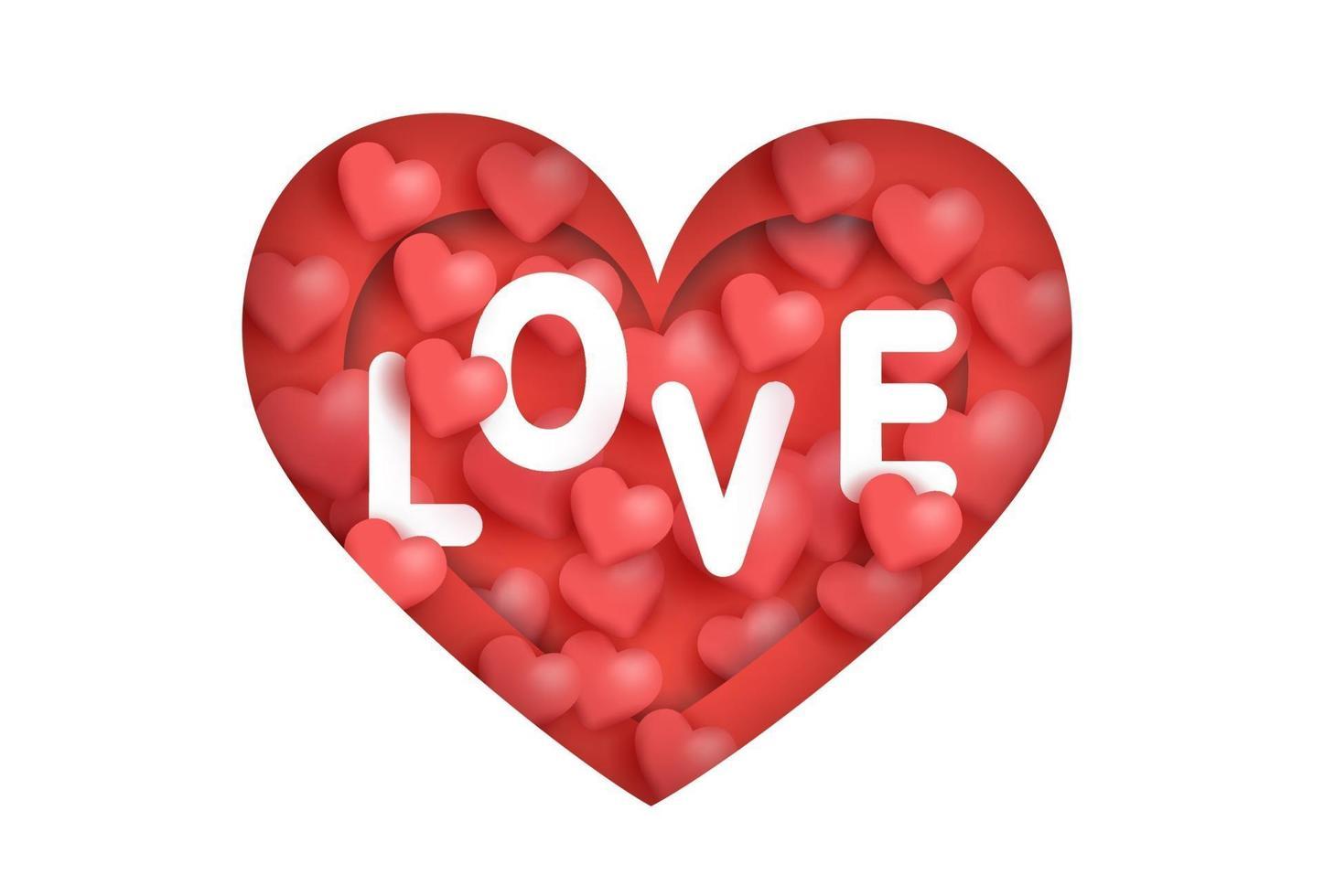 Alla hjärtans dag gratulationskort med kärleksord i hjärtat. vektor
