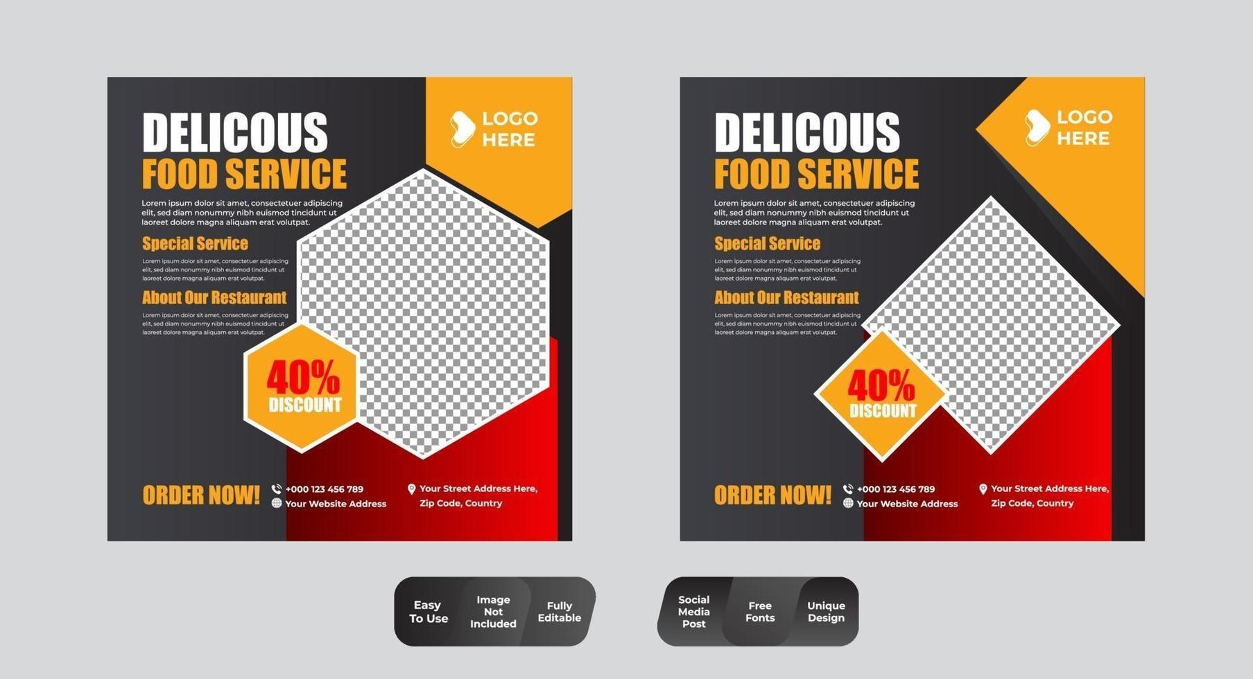 Essen und Restaurant Social Media Post Design Template Set vektor