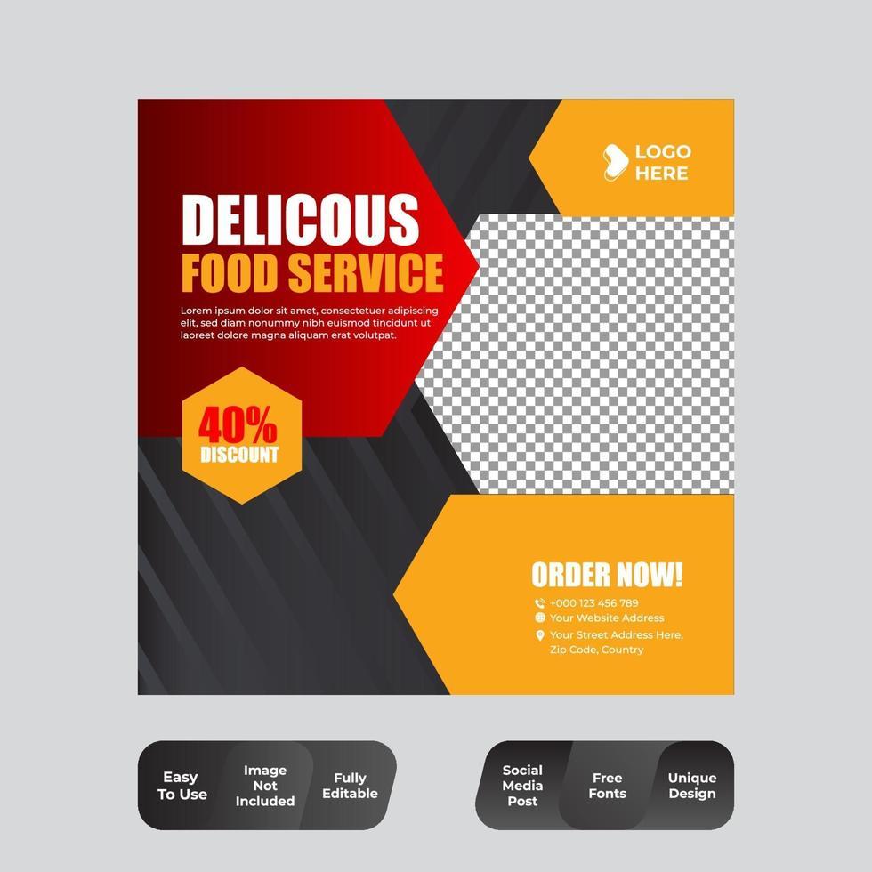 mat och restaurang sociala medier post designmall vektor