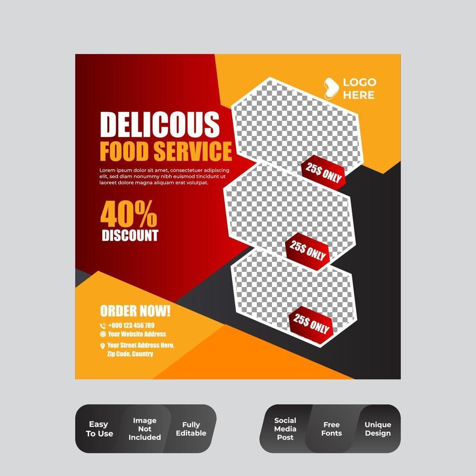 elegant vintage lyxrestaurang kulinariska sociala medier postmall vektor