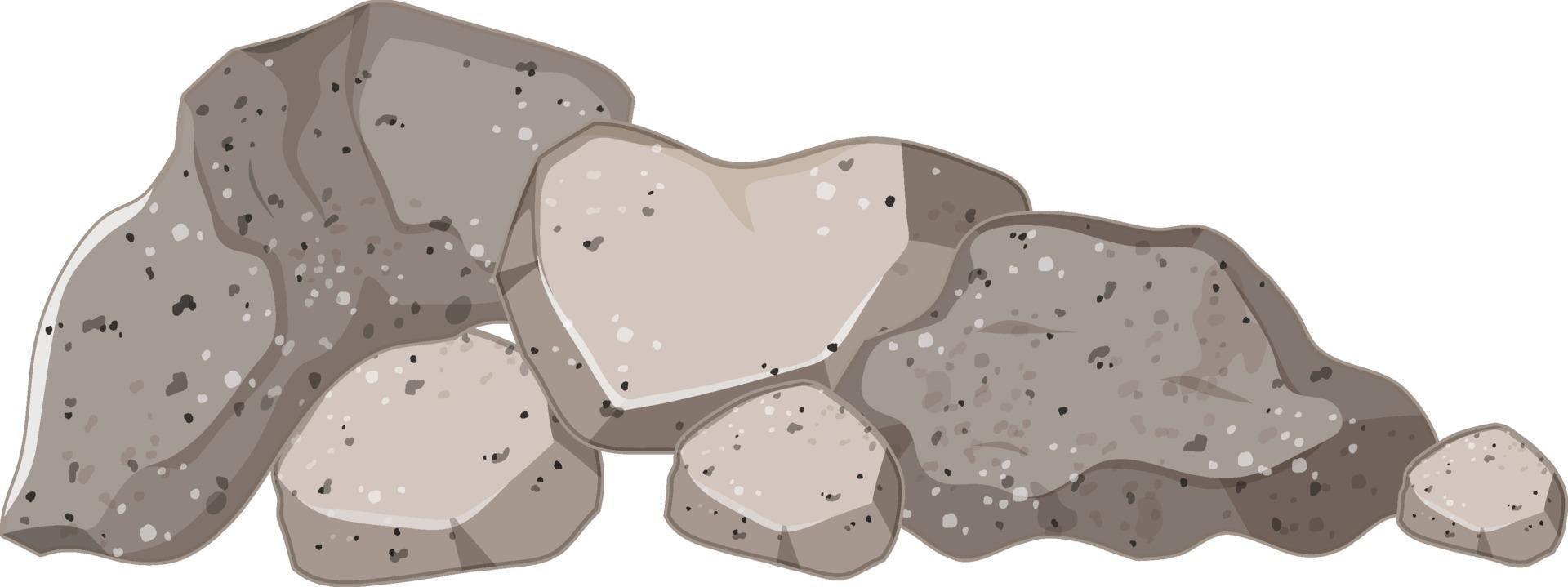 Satz grauer Steine auf weißem Hintergrund vektor