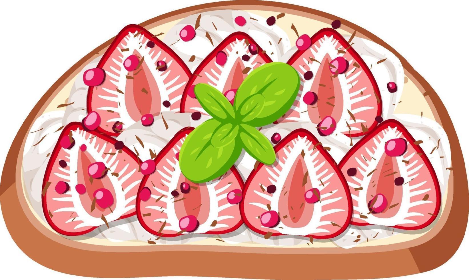 Draufsicht auf Brot mit Obstbelag vektor