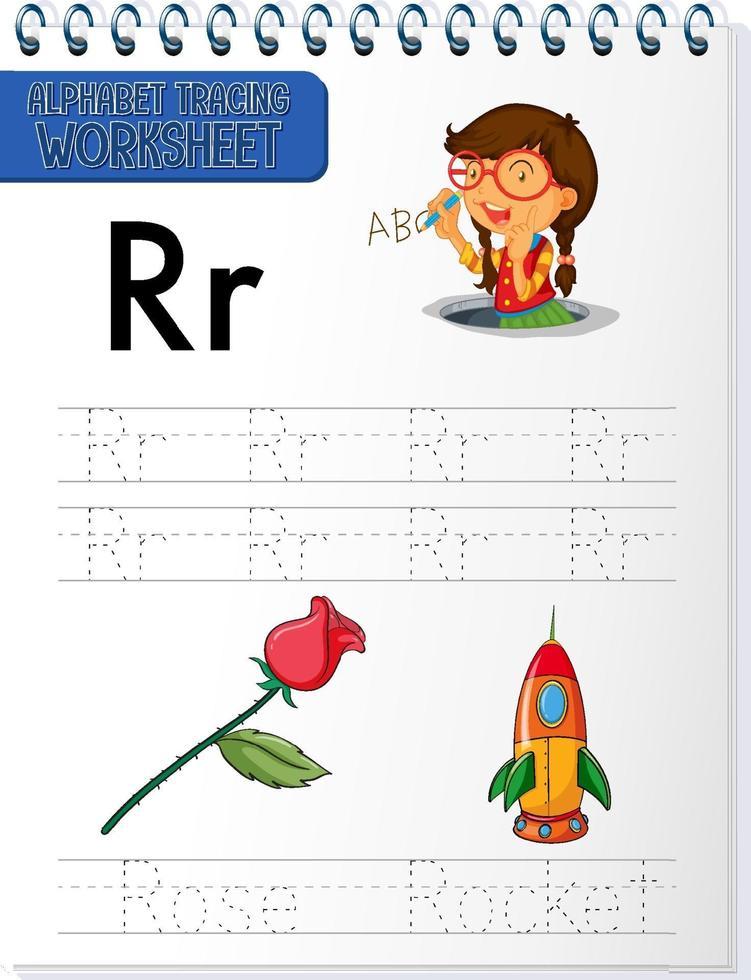 alfabetet spårning kalkylblad med bokstaven r och r vektor