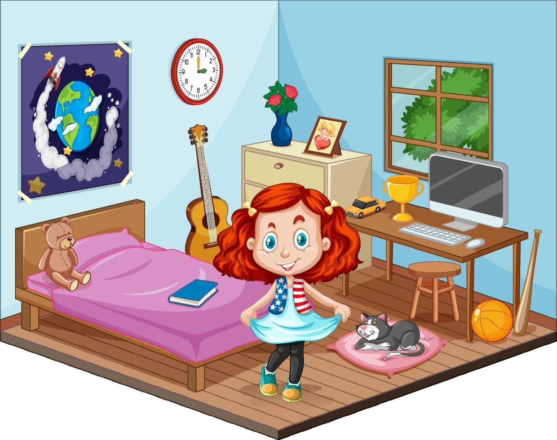 Teil des Schlafzimmers der Kinderszene mit einem Mädchen im Karikaturstil vektor