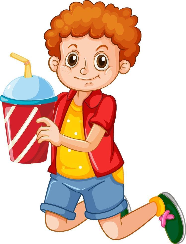 glückliche junge Zeichentrickfigur, die einen Getränkeplastikbecher hält vektor