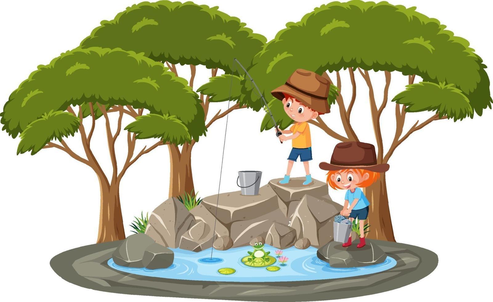 isolierte Szene mit Kindern, die am Teich fischen vektor