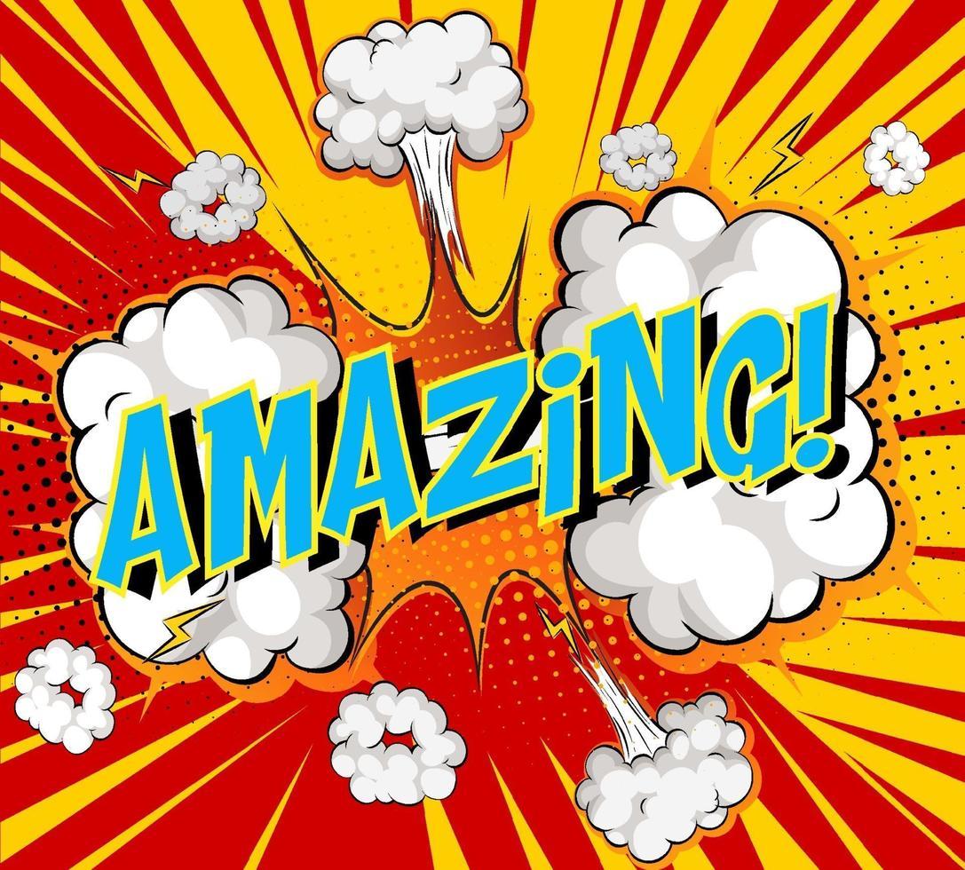 Wort erstaunlich auf Comic Cloud Explosion Hintergrund vektor