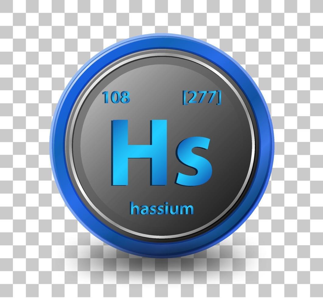 chemisches Element von Hassium. chemisches Symbol mit Ordnungszahl und Atommasse. vektor