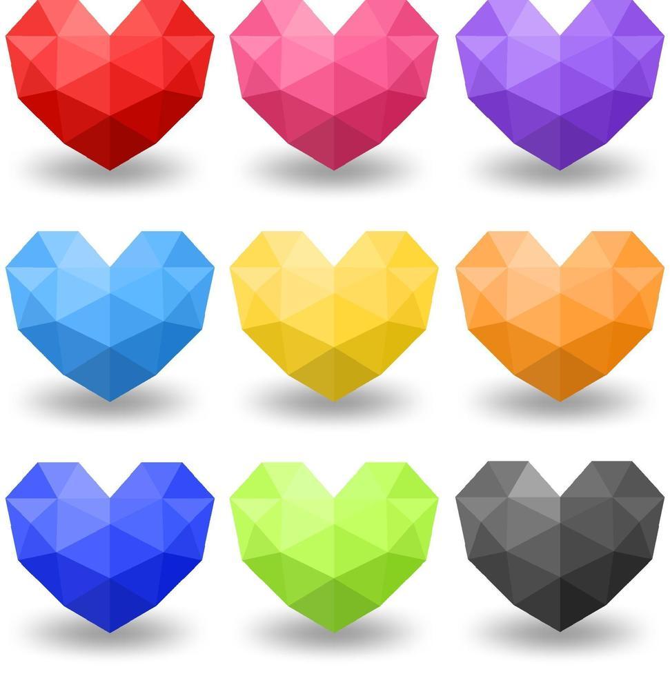 Satz von verschiedenen Farben des geometrischen Herzens vektor