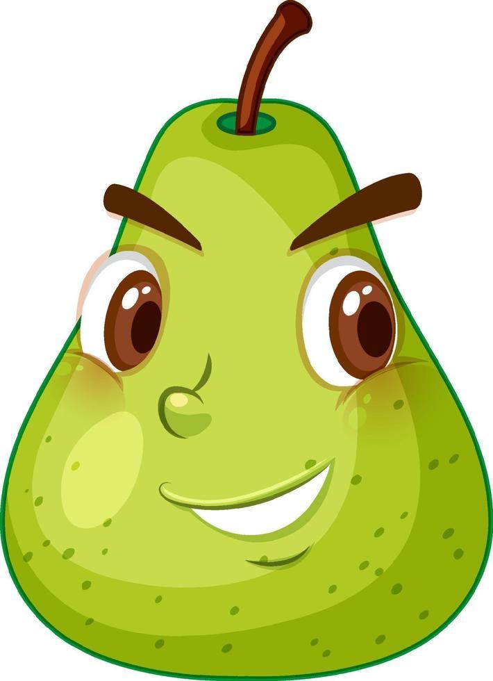 grüne Birnenkarikaturfigur mit glücklichem Gesichtsausdruck auf weißem Hintergrund vektor