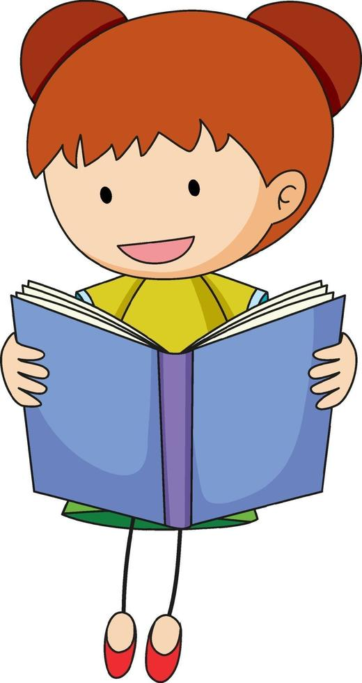 en klotterunge som läser en boktecknad karaktär isolerad vektor