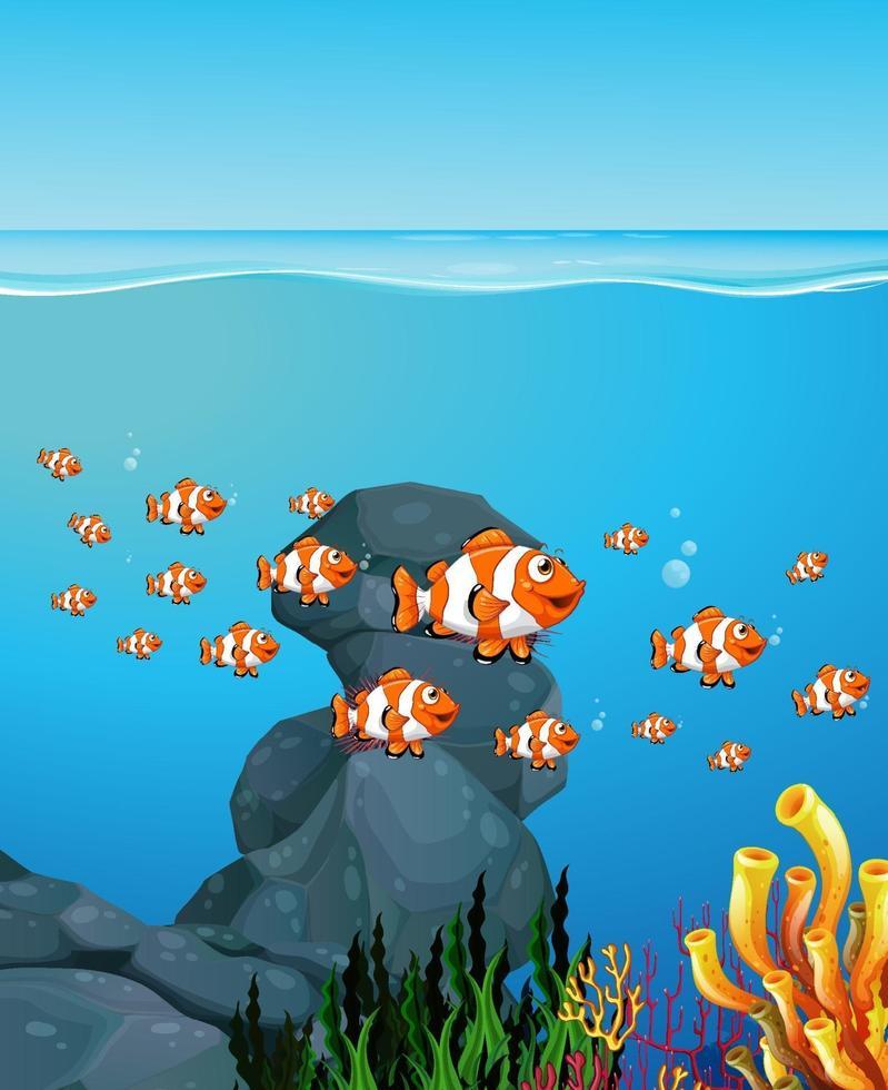 viele exotische Fische Zeichentrickfigur im Unterwasserhintergrund vektor