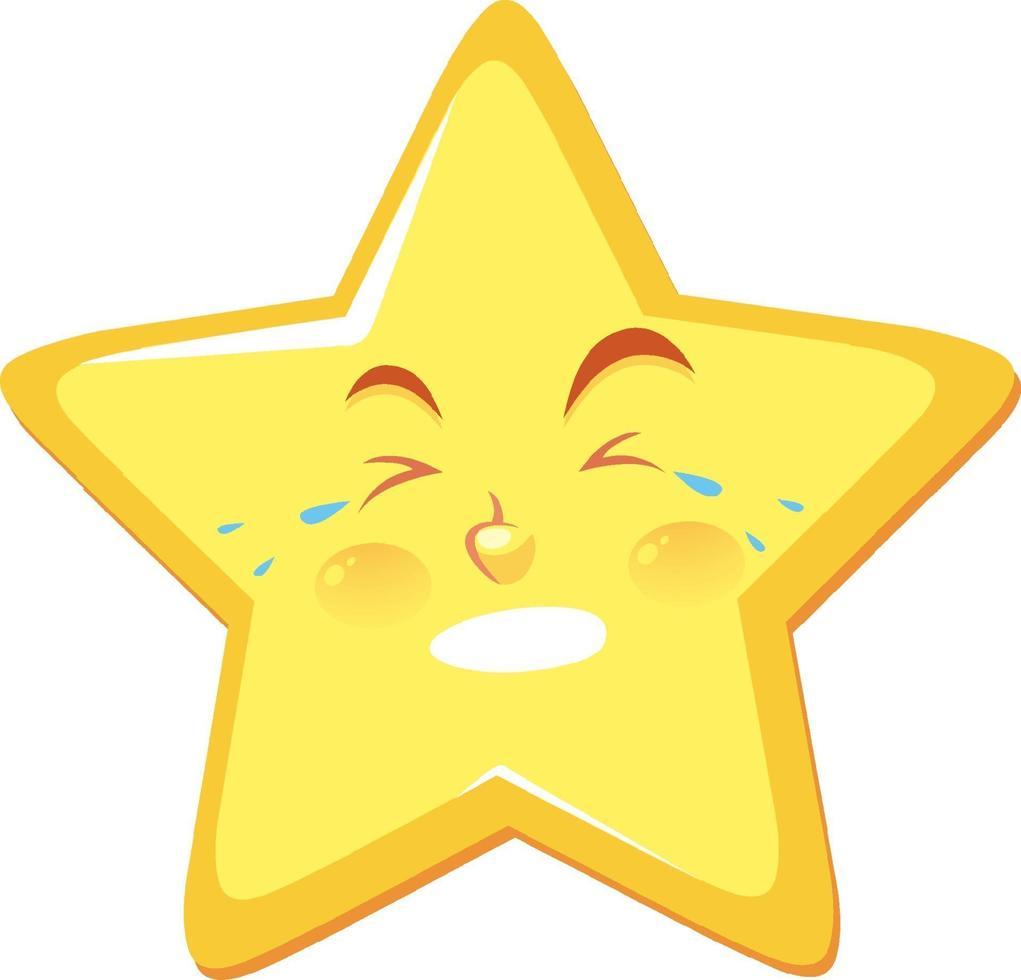 Sternkarikaturfigur mit weinendem Gesichtsausdruck auf weißem Hintergrund vektor