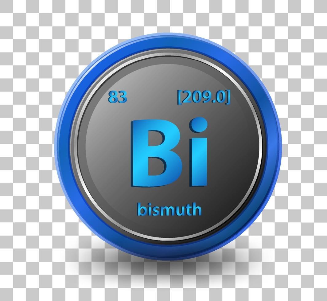 chemisches Wismutelement. chemisches Symbol mit Ordnungszahl und Atommasse. vektor