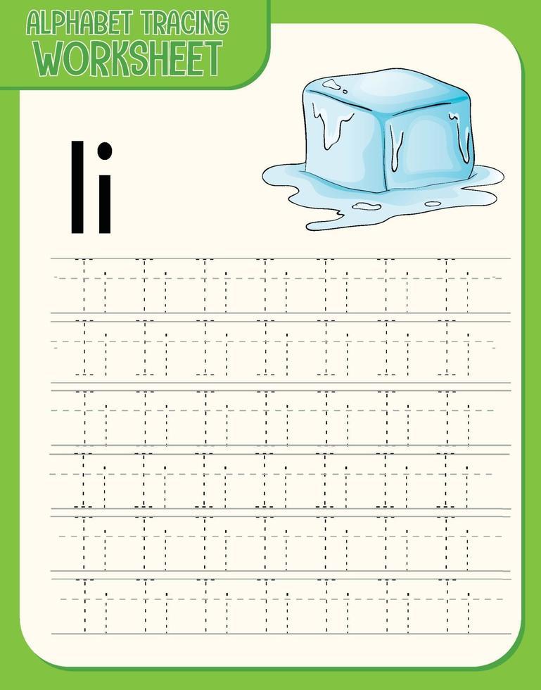 Arbeitsblatt zur Alphabetverfolgung mit den Buchstaben i und i vektor