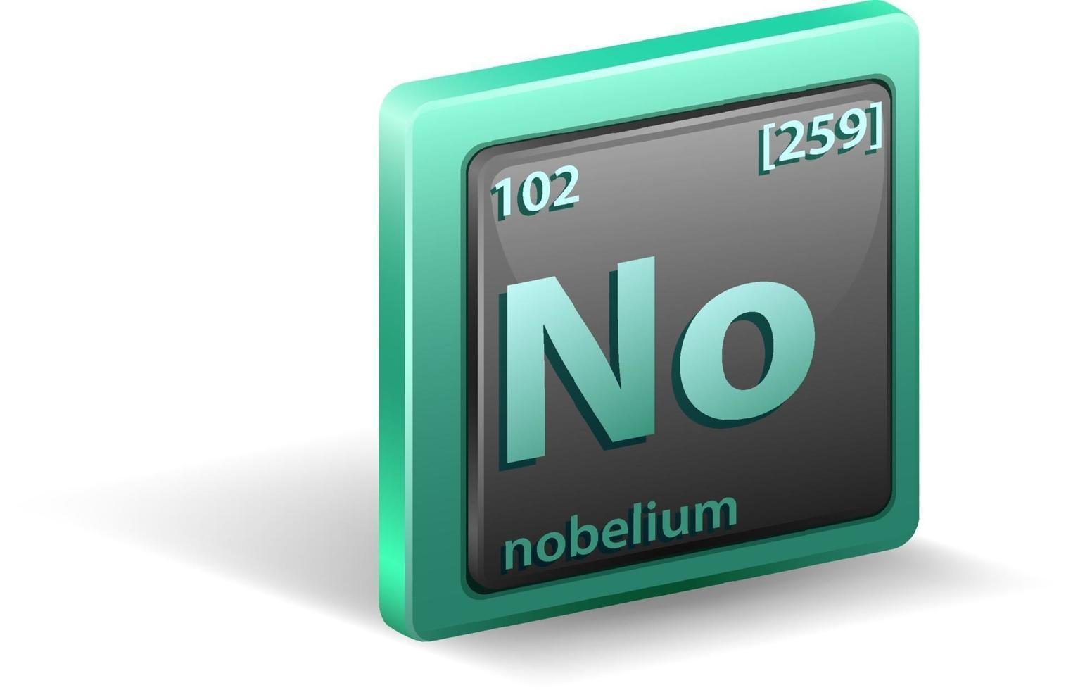 Nobelium chemisches Element. chemisches Symbol mit Ordnungszahl und Atommasse vektor