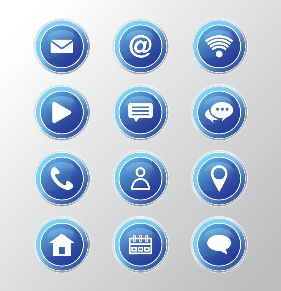 kontakta oss knappar och ikon design. vektor