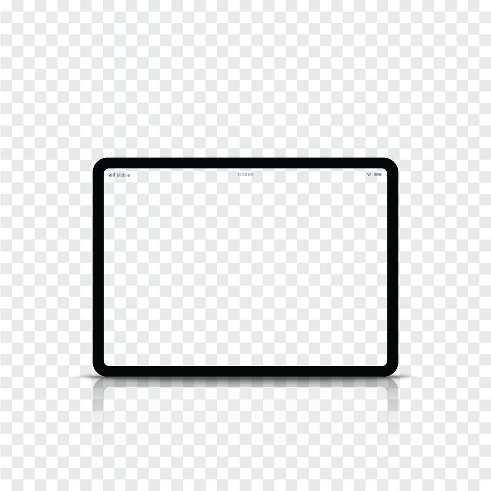 modern realistisk svart surfplatta med tom skärm. vektor illustration.