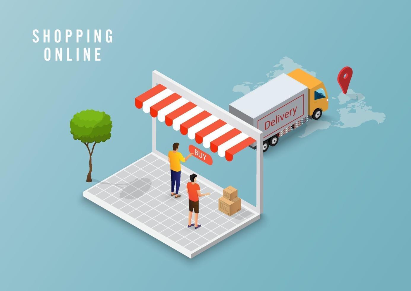 online leverans servicekoncept, online beställningsspårning, logistik leverans hem och kontor på dator. vektor illustration