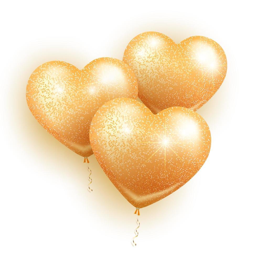 gyllene hjärtan ballonger vektor