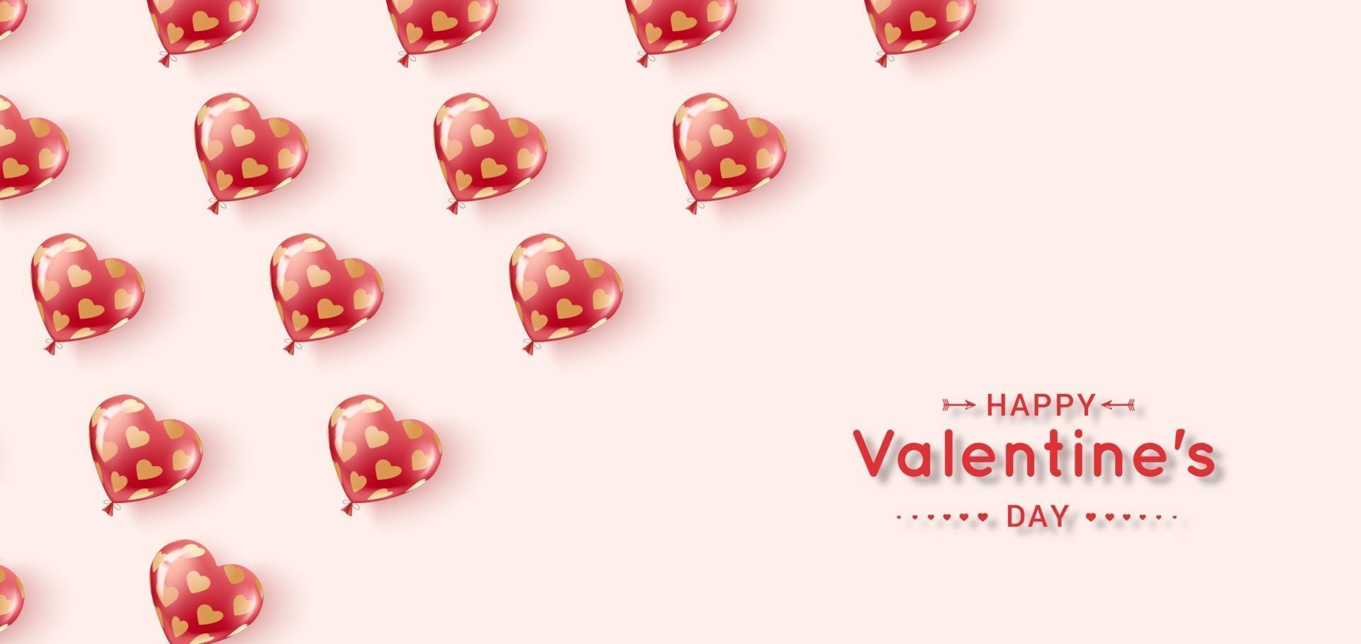 fliegende Gelballons von roten und rosa Farben mit Muster der goldenen Herzen. vektor