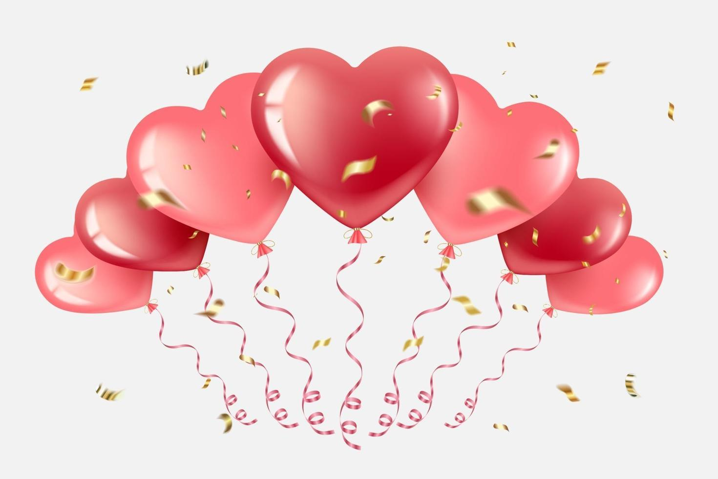 hjärta ballonger med gyllene konfetti vektor