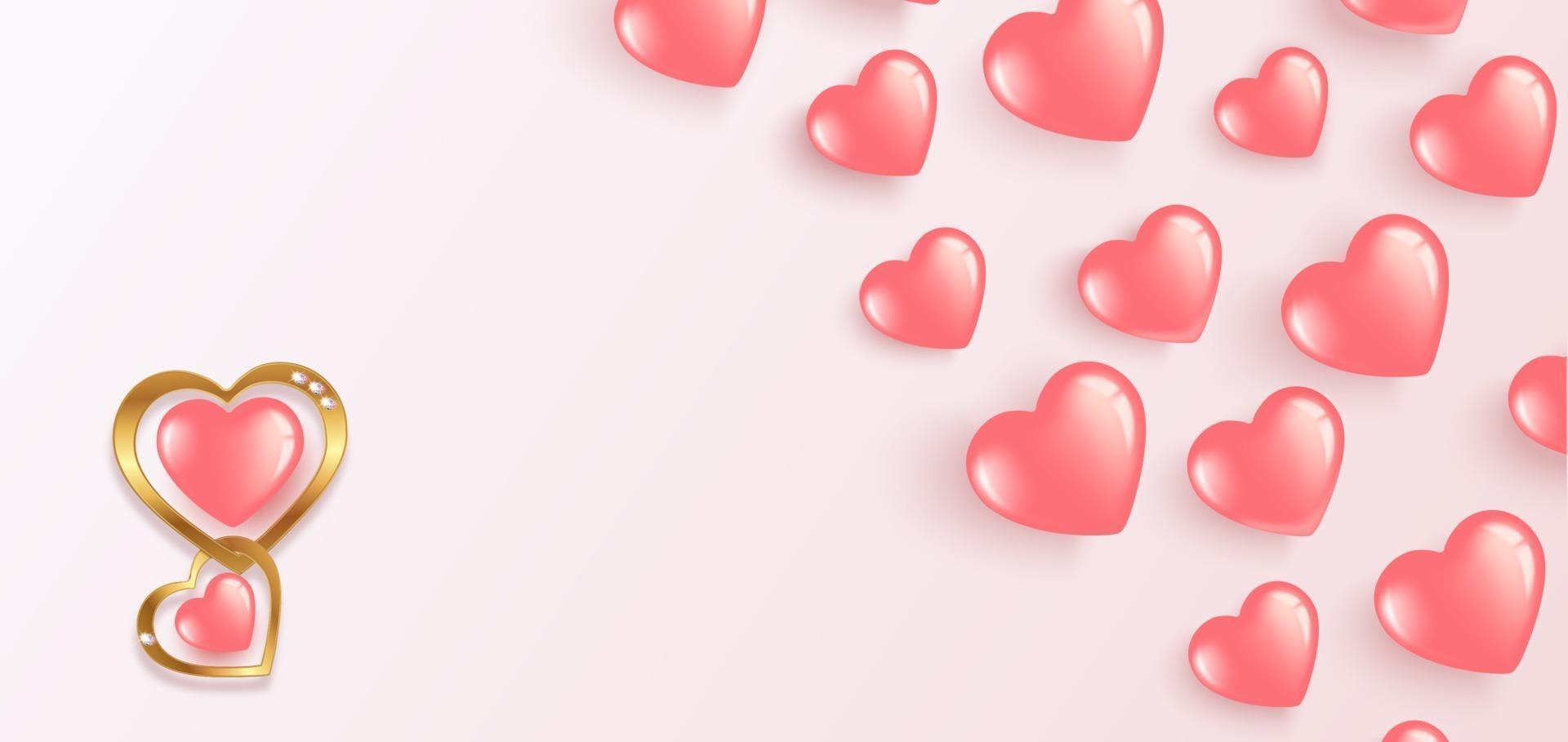 fröhlichen Valentinstag. fliegende gel rosa Luftballons. horizontales Banner mit Platz für Text vektor